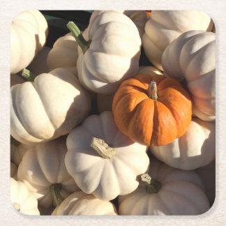 Autumn, Orange and white, Pumpkins Square Paper Coaster