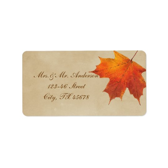 Autumn Orange Fall in Love Leaves Wedding Label