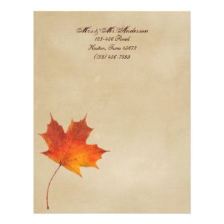Autumn Orange Fall in Love Leaves Wedding Letterhead