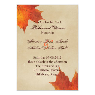 Autumn Orange Fall Leaves Wedding rehearsal dinner Card