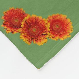 Autumn Orange Flower Fleece Blanket