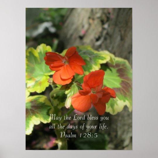 Autumn Orange Geraniums ~ Psalm 128:5 Poster