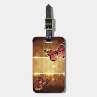 autumn orange glamour flourish swirls butterfly luggage tag