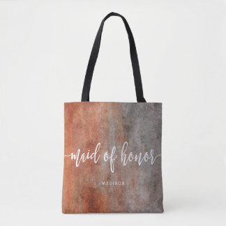 Autumn Orange Gray Maid of Honor Monogram Tote Bag