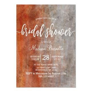 Autumn Orange Gray Rust Bridal Shower Invitation