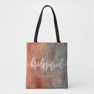 Autumn Orange Gray Watercolor Bridesmaid Monogram Tote Bag