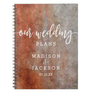 Autumn Orange Gray Watercolor Wedding Planner Notebook