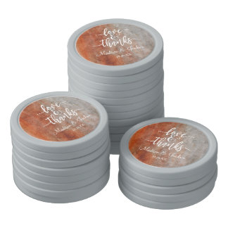 Autumn Orange Gray Watercolor Wedding Thank You Poker Chips