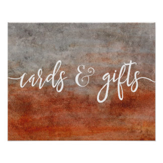 Autumn Orange Gray Wedding Cards & Gifts Poster