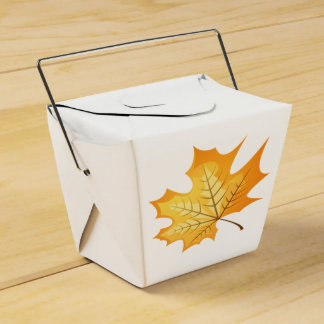 Autumn Orange Leaf Rustic Country Wedding Party Party Favor Boxes