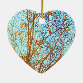 Autumn Orange Leaves and Blue Sky Ceramic Heart Ornament