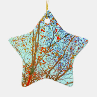 Autumn Orange Leaves and Blue Sky Ceramic Star Ornament