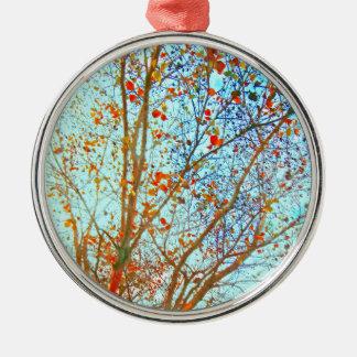 Autumn Orange Leaves and Blue Sky Metal Ornament