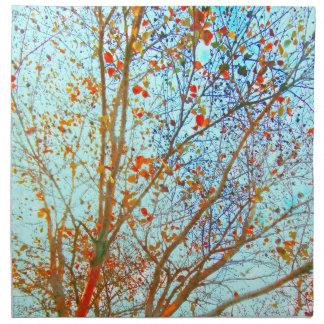 Autumn Orange Leaves and Blue Sky Napkin