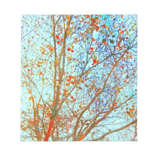 Autumn Orange Leaves and Blue Sky Notepad