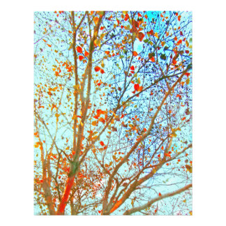 Autumn Orange Leaves and Blue Sky Personalized Letterhead