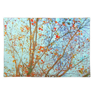 Autumn Orange Leaves and Blue Sky Placemat