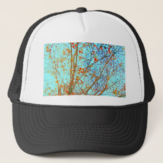 Autumn Orange Leaves and Blue Sky Trucker Hat