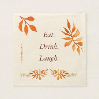Autumn orange rust leaves eat drink laugh party disposable napkins