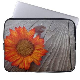 Autumn Orange Sunflower Blossom Laptop Computer Sleeves