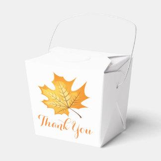 Autumn Orange Thank You Leaf Rustic Wedding Favor Box