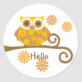 Autumn Owl Classic Round Sticker