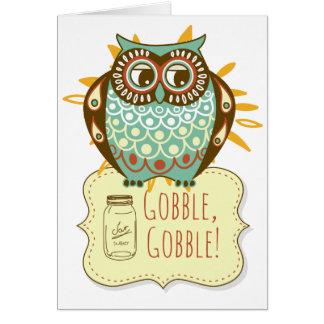 Autumn Owl Mason Jar Happy Thanksgiving Card