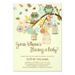 """Autumn Owls and Bird Cages Baby Shower 5"""" X 7"""" Invitation Card"""