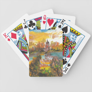 Autumn Pagoda Bicycle Playing Cards