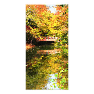 Autumn Park With Bridge Custom Photo Card