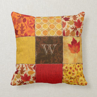 Autumn Patchwork Monogram Throw Pillow