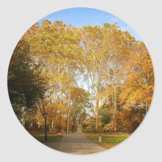 Autumn Path, Central Park, New York City Round Sticker