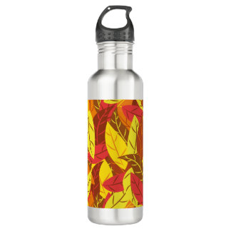 Autumn pattern colored warm leaves 710 ml water bottle