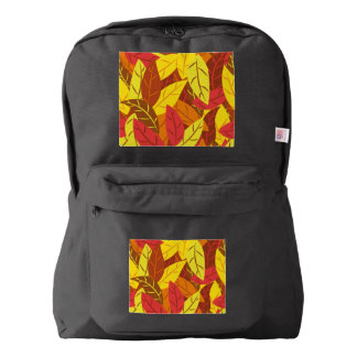 Autumn pattern colored warm leaves backpack