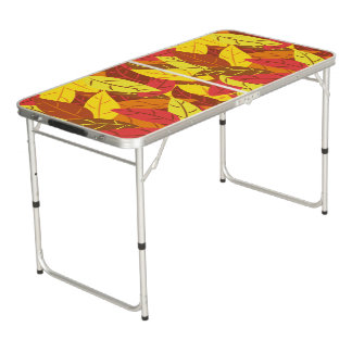 Autumn pattern colored warm leaves beer pong table
