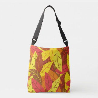 Autumn pattern colored warm leaves crossbody bag