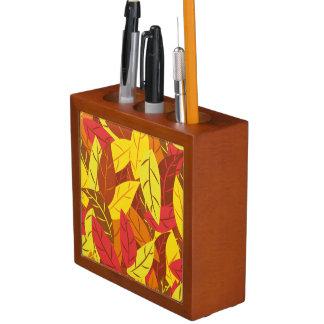 Autumn pattern colored warm leaves desk organizer