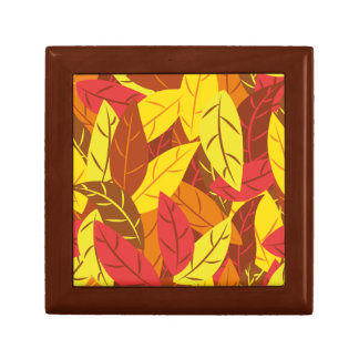 Autumn pattern colored warm leaves gift box