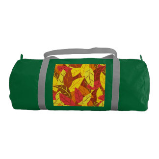 Autumn pattern colored warm leaves gym bag