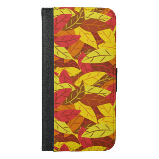 Autumn pattern colored warm leaves iPhone 6/6s plus wallet case