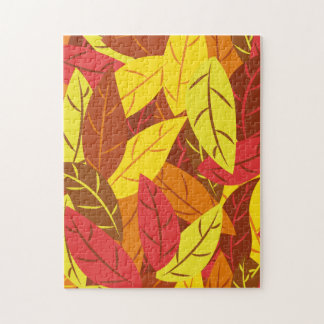 Autumn pattern colored warm leaves jigsaw puzzle