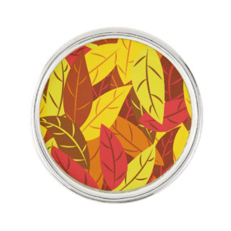 Autumn pattern colored warm leaves lapel pin