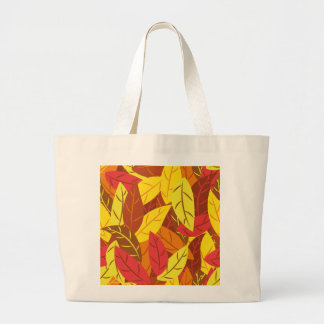 Autumn pattern colored warm leaves large tote bag