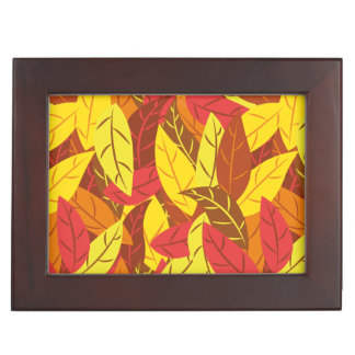 Autumn pattern colored warm leaves memory boxes