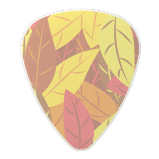Autumn pattern colored warm leaves polycarbonate guitar pick