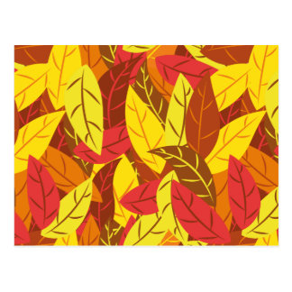 Autumn pattern colored warm leaves postcard