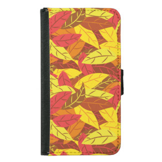 Autumn pattern colored warm leaves samsung galaxy s5 wallet case