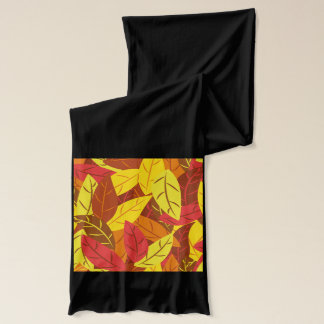 Autumn pattern colored warm leaves scarf