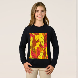 Autumn pattern colored warm leaves sweatshirt