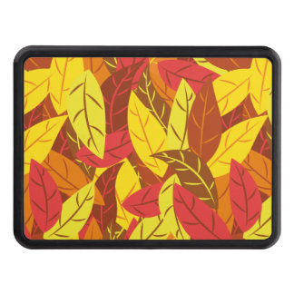 Autumn pattern colored warm leaves trailer hitch cover